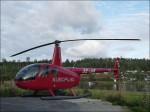 Då vi hamnade vid en helikopter